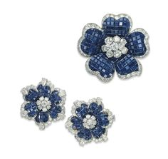 A Group of Sapphire and Diamond Flower Jewellery, By Van Cleef & Arpels