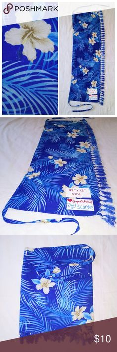 "MINI SARONG Bathing Suit Cover-Up Blue Hawaiian Print?mini skirt?sarong?with fringe tassels.? 100% rayon Hawaiian sarong pareo lava lava. In excellent used condition. From a smoke free home. Make an offer! SAVE on SHIPPING & get a DISCOUNT by making a BUNDLE! Get 20% off on 2+ items. 2for1 SCARF SALE: Buy one ""2for1"" scarf at full price and get another scarf of equal or lesser value for free! Purchase the first scarf, comment on the second scarf, & I'll ship both! Vintage Swim Sarongs"
