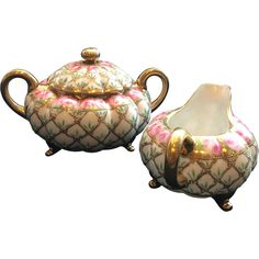 Nippon Hand-Painted Floral Pattern Cream and Sugar Set with Gold Accents from SassyExtras on Ruby Lane