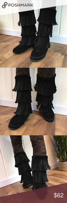 389a8de1a MINNETONKA BOOTS MINNETONKA ALL SUEDE, THREE LAYER FRINGE BOOTS, FRINGE IS  ALL STRAIGHT, MID-CALF HEIGHT, LIKE NEW💕 Minnetonka Shoes Combat & Moto  Boots