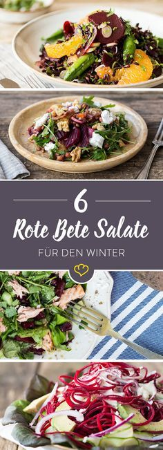 6 beetroot salads for the cold season- 6 Rote Bete-Salate für die kalte Jahreszeit The star of the salad creations is clearly the beetroot. How good the small tuber as a salad tastes, prove these 6 recipes. Healthy Salad Recipes, Pasta Recipes, Beef Recipes, Vegan Recipes, Clean Eating Dinner, Clean Eating Recipes, Healthy Eating, Paleo Dinner, Dinner Recipes