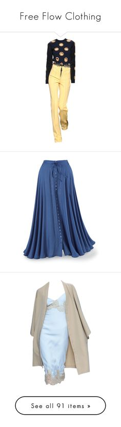 """""""Free Flow Clothing"""" by wanda-india-acosta ❤ liked on Polyvore featuring skirts, bottoms, saias, faldas, button front maxi skirt, long blue skirt, long blue maxi skirt, embroidered long skirts, front slit skirt and dresses"""