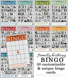 Family history bingo is a companion game to the family history matching game (from this download). I created them coordinate and work together. I created 50 unique family history bingo cards each with an inspirational quote and number. The files...