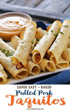 Baked Pulled Pork Taquitos - the perfect game day recipe. Easy to make in less than 30 minutes. Perfect to add to your tailgating menu, so delicious! Perfect Food, Perfect Game, Flautas, Pulled Pork Recipes, Baked Pork, Game Day Food, Appetizer Recipes, Yummy Appetizers, Mexican Food Recipes
