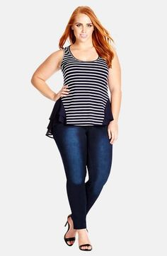 City+Chic+'Mix+It+Up'+Mixed+Media+Peplum+Top+(Plus+Size)+available+at+#Nordstrom