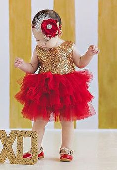 Girls red tulle tutu dress with gold sequin top, Great for parties and Christmas pictures. Girls Party Dress, Baby Girl Dresses, Flower Girl Dresses, Party Dresses, Baby Girls, Pageant Dresses, Christmas Tutu Dress, Girls Christmas Dresses, Flower Girls