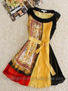 Black Round Neck Sleeveless Pleated Drawstring Waist Silk Dress