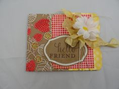 Hello Friend-Thinking of You-Strawberry-Red-Yellow-White-Card with Envelope on Etsy, $7.50