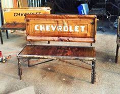Old Chevrolet Truck Talgate Bench - Recycled Salvage Design