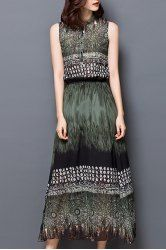 Vintage Stand Collar Print Sleeveless Maxi Dress For Women
