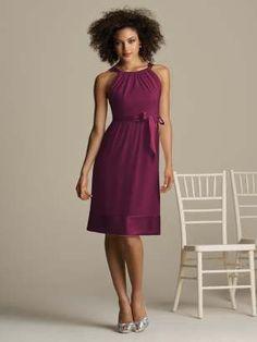 Pretty color, pretty dress. (Details: Cocktail length nu-georgette halter dress with matching matte satin trim at neckline, empire waist and hem.)