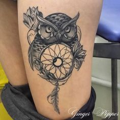 tattoo par Ginger pepper. tattoo owl dreamcatcher  tatouage hiboux et attrape rêve