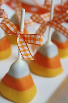 Candy Corn Cake Pops! So creative! www.KarasPartyIdeas.com