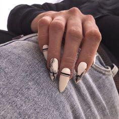 Edgy Nails, Chic Nails, Stylish Nails, Swag Nails, Trendy Nail Art, Almond Acrylic Nails, Best Acrylic Nails, Acrylic Nail Designs, Almond Nail Art