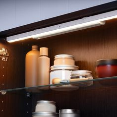 STÖTTA LED cabinet lighting strip w sensor, battery operated white, Luminous flux: 50 Lumen - IKEA Ikea Lighting, Led Cabinet Lighting, Task Lighting, Strip Lighting, Kitchen Lighting, Lighting Ideas, Led A Pile, Pile Aa, Baguette