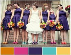 OMG totally adorable colorful bridemaid scheme!!! LOVE the matching rainbow shoes with the earrings idea.