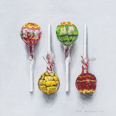 Chupa Chups by Joel Penkman Freetress Deep Twist, Joel Penkman, Sarah Graham, Gcse Art Sketchbook, Sketchbooks, Sketching, Food Artists, Food Painting, Food Drawing