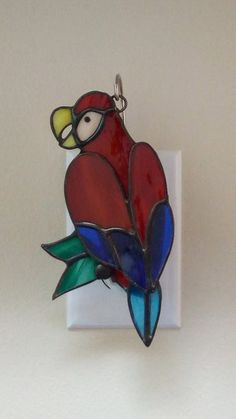 Stained Glass Parrot night light by PSStainedGlass on Etsy Glass Painting Designs, Paint Designs, Stained Glass Night Lights, Tropical Birds, Glass Animals, Blue Ribbon, Breast Cancer Awareness, Suncatchers, Parrot