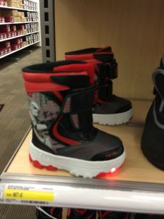AFO Friendly Boots for boys. Double bonus: Star Wars and Light up!  Target- January 2016 on sale for $19.99 - normally $29.99.