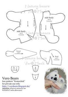 memory free bear pattern No Joints Plushie Patterns, Animal Sewing Patterns, Doll Patterns, Bear Patterns, Sewing Stuffed Animals, Stuffed Animal Patterns, Fabric Toys, Bear Doll, Sewing Dolls