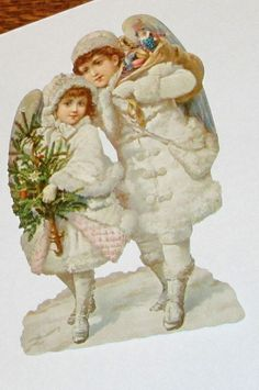 VICTORIAN GERMAN LARGE CHRISTMAS CHILDREN ANGELS W TOYS TREE  CUT SCRAP EF 5148 #EF