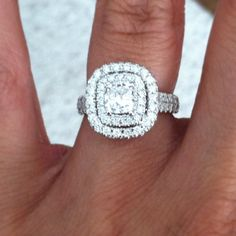 Perfect Neil lane engagement ring . 2 ct Cushion cut with double halo