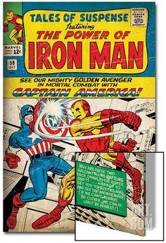 Marvel Comics Retro: The Invincible Iron Man Comic Book Cover No.58, Facing Captain America (aged) Metal Print at Art.com