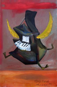 piano angel 2, acrylic on canvas, 31 x 46 cm. Drawing of the Serie Piano for sale by artist Diego Manuel