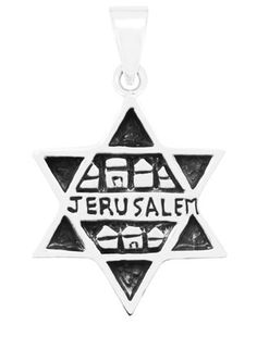 SILVER STAR OF DAVID WITH JERUSALEM MOTIF #jewelry #jewish #judaica #pendant #sterlingsilver #jerusalem #israel