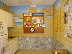 Great And Rare Mural And Stones Finish Painted For The Kitchen Of Pill Box  Pharmacy In