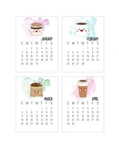 Come on in and get your Free Printable 2018 Kawaii Coffee Journal Card Calendar in the popular size of 3X4! These little cups of brew will make you smile!