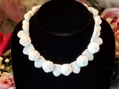 Vintage Retro Western Germany Milk Glass Flower Floral Disc Ball & Seed Bead Choker Necklace by SparklesGalorebyDeb on Etsy https://www.etsy.com/listing/546856666/vintage-retro-western-germany-milk-glass
