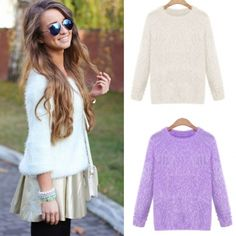 Female Smooth Mohair Pure Candy color Knitted Sweater Outwear