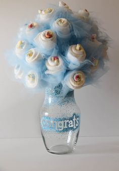 I LOVE THIS!!!! #Diaper #Bouquet with Hand Decorated Vase by TheGardenOfIda on Etsy, $75.00