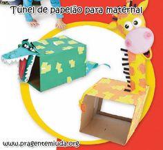 Um túnel para as crianças engatinharem por dentro pode ser feito com papelões grandes, cartolinas, diferentes tipos de tapetes...