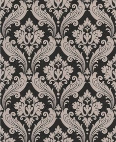 Vintage Flock: Black / Taupe Wallpaper -- another choice for bedroom (one wall only)