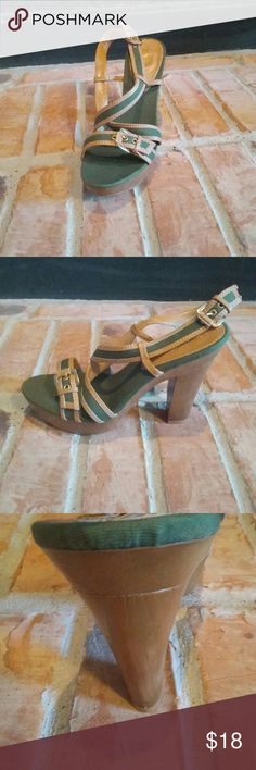 Military Green and Tan Open Toe heels Very sexy open toe shoes with a thick heel for support.  New, never worn with no box. Thanks for stopping by!!! Shoes Heels