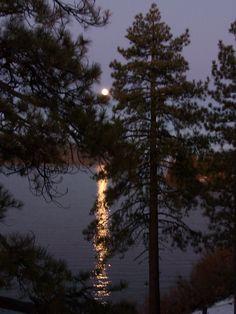 moon light on Big Bear Lake,  Ca