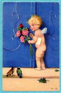 Fritz Baumgarten postcard - Fairy at the door.