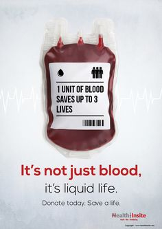 Blood donation poster- 1 unit of blood saves up to 3 lives! Donate today. Save a life