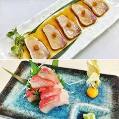 Two of our amazing delicious King Fish specials for this weekend at Okko Broadway Market: Hamachi Tataki (seared king fish with jalapeño ponzu kizame wasabi and tobikko) and Hamachi Sashimi (fat pieces of fresh king fish). We are open tonight (Friday)  from 6.30pm - come and try our fantastic range of Japanese modern cuisine! We cater for all needs including gluten free and vegan. #okko #okkobroadwaymarket #okkolondon #sushi #broadwaymarket #eastlondonsushi #delicious #yummy #healthy…