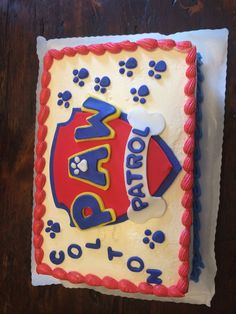 Paw patrol cake! I just ordered a plain cake from my fave bakery with the red and blue piping and then created the decorations in fondant myself!