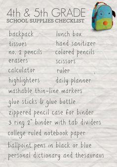 Free Printable 4th & 5th Grade Back to School Printable. » Back to School Shopping List. From Daily Mom