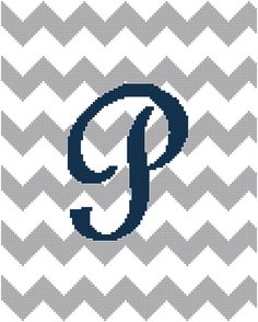Chevron Letter P Grey and Navy Blue Cross Stitch Pattern - Custom Personalize Cross Stitch Patterns. #babyboy #chevron #crossstitch