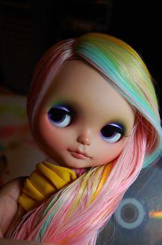 Custom Blythe Doll with Pastel Rainbow Hair by Melly Kay Customs via Flickr    #doll #toy #blythe