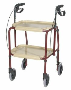 Handy Utility Trolley by Drive Medical. $82.60. The Drive Medical K.D. Hand Trolley with Hand Brakes is made from a sturdy and durable, steel construction. It is used to easily transport personal items, smoothly. Weighing only 18 lbs., this product makes it is easy to transport. It comes standard with two removable trays, the bottom tray is set forward to make it easy and safe to walk with. The hand brakes do not require a patient to remove their hand from the unit to ...
