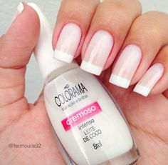 "6,906 Likes, 61 Comments - Colorama Esmaltes (@esmaltecolorama) on Instagram: ""A delicada e charmosa francesinha! ❤  Leite de coco @fermoura92 #ColoramaDaSemana…"""