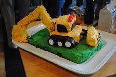 Backhoe cake for birthday #2.