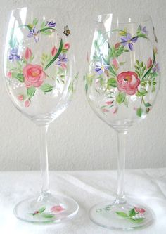 "Wedding day, Valentine""s Day  wineglasses, handpainted roses and violets. Set of two on Etsy, $30.00"