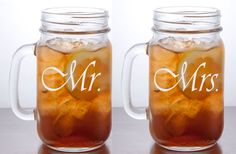 $15.00 per pair Custom Engraved Mr. and Mrs. Mason Jar Mugs. * This listing includes two glasses. * Select from 48 designs (See images 3-5 for our current font options).  **Personalize these glasses by adding your last name or the date of your special occasion for just $5.00 more! ................................  - Each glass will hold approximately 16oz of liquid. - Top Diameter - 2 1/2 Inches - Height - 5 1/2 Inches  - All of our designs are permanent. - All engraving has...